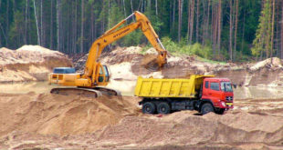 Добыча песка с применением земснаряда и конвейеров