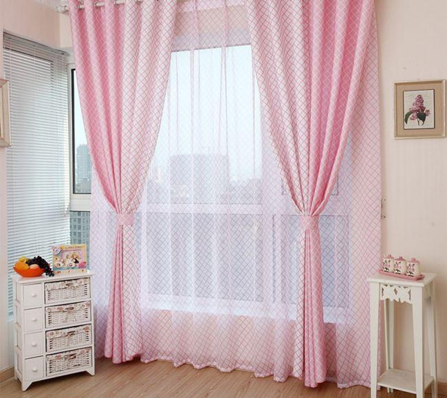 Розовый-Плед-Печатных-Polyetser-Ткани-Blackout-Занавес-Для-Гостиной-Обработки-Окна-Для-Спальни-Кухня-Шторы-Шторы