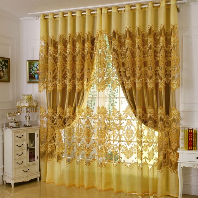 Home-font-b-Curtains-b-font-For-Windows-Burnout-Tulle-Decoration-font-b-Yellow-b-font