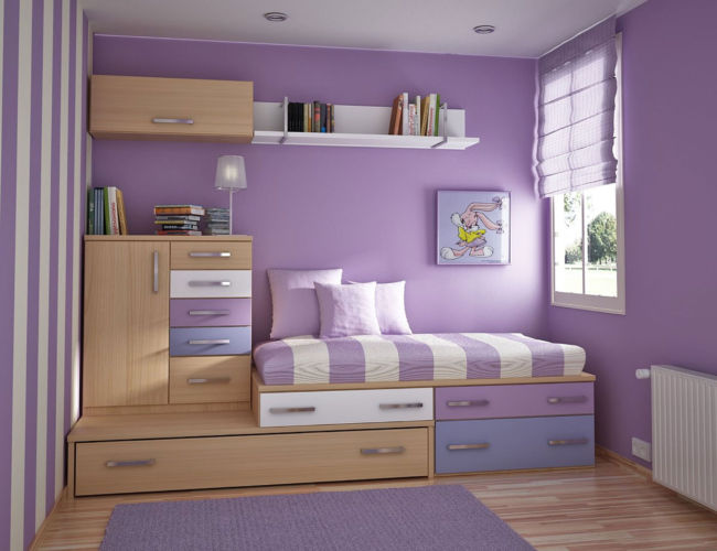 Inspiring-Teenage-Bedroom-with-Purple-Theme-Color-Ideas-Plus-Small-Floating-Bookshelf-Also-Beautiful-Blinds-feat-Wooden-Floor-Design