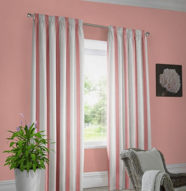 Pink walls and white curtains in dark pink stripes