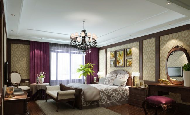 Purple-curtains-for-European-style-bedroom