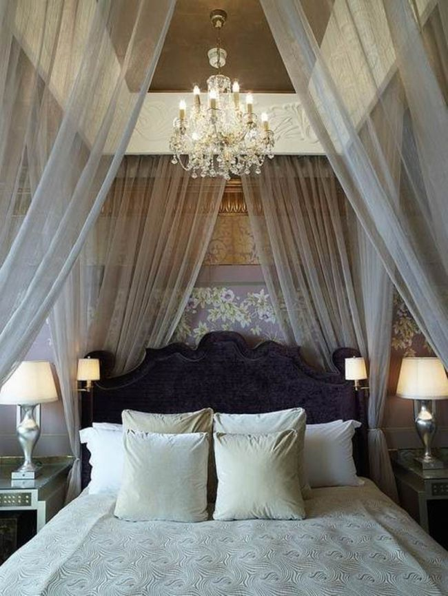 Stunning Romantic Bedroom Ideas White Bed Curtain Design