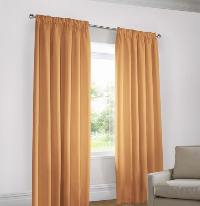 White walls-pale orange curtains 2