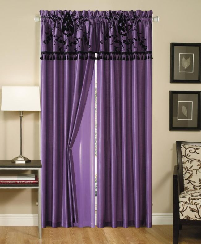 accessories-surprising-home-decor-ideas-with-purple-curtains-with-nice-head-combine-with-cream-wall-paint-also-small-table-with-white-shade-desk-lamp-also-armchair-and-combine-with-brown-laminated-flo