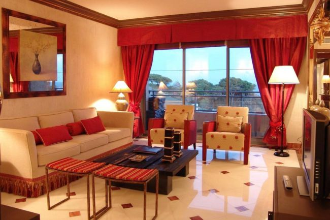 amusing-colors-for-living-room-interior-design-with-red-curtain-glass-window-as-well-dark-wooden-table-on-white-tile-floor-as-well-oran