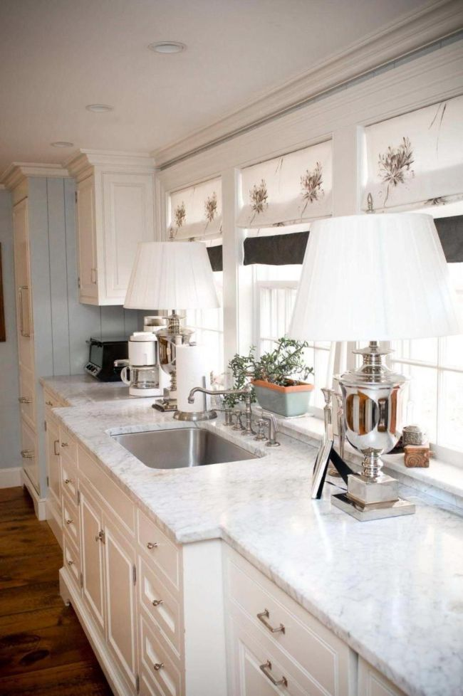 amusing-white-design-curtain-for-kitchen-with-lamps-table-beside-sink-plus-white-granite-countertop-also-wooden-floor