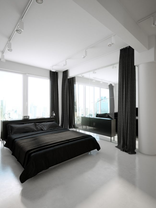 bedroom-inspiration-grandiose-black-and-white-modern-loft-bedroom-design-with-cool-white-ceiling-spotlights-over-low-profile-king-bed-added-black-cover-set-as-well-as-black-divider-curtain-added-whit
