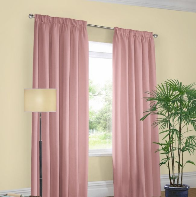 cream walls milky-pink curtains
