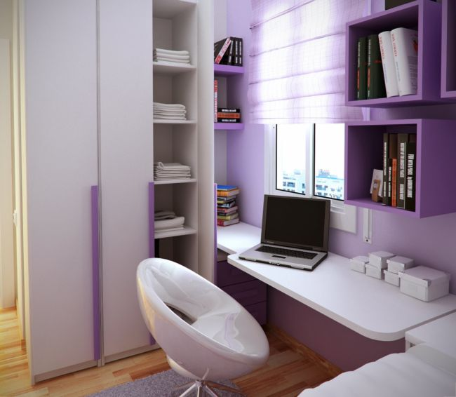 extraordinary-home-interior-for-small-bedroom-design-ideas-showing-cozy-white-rectangle-study-desk-under-beautifull-purple-solid-suport-wall-storage-nea