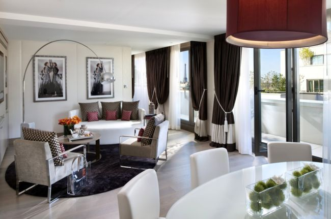 interior-style-design-light-white-room-views-paris-table-chairs-sofa-armchairs-pillow-flower-tray-light-painting