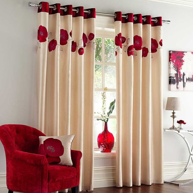 ravishing-home-interior-decor-most-beautiful-neutral-tone-curtains-red-orchid-flowers-curtain-ornaments-fabric-reading-arm-chair-in-red-color-small-cushion-with-red-orchid-ideas-silver-side-table-insp