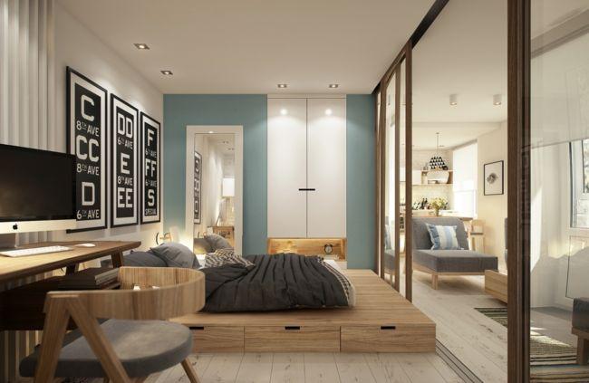 Дизайн-интерьера-однокомнатной-квартиры-40-кв.м.-с-подиумом