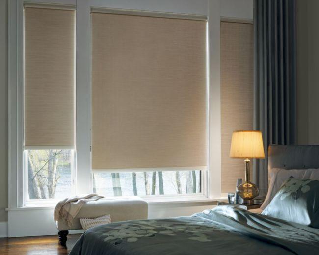 шторы в спальню с рулонками