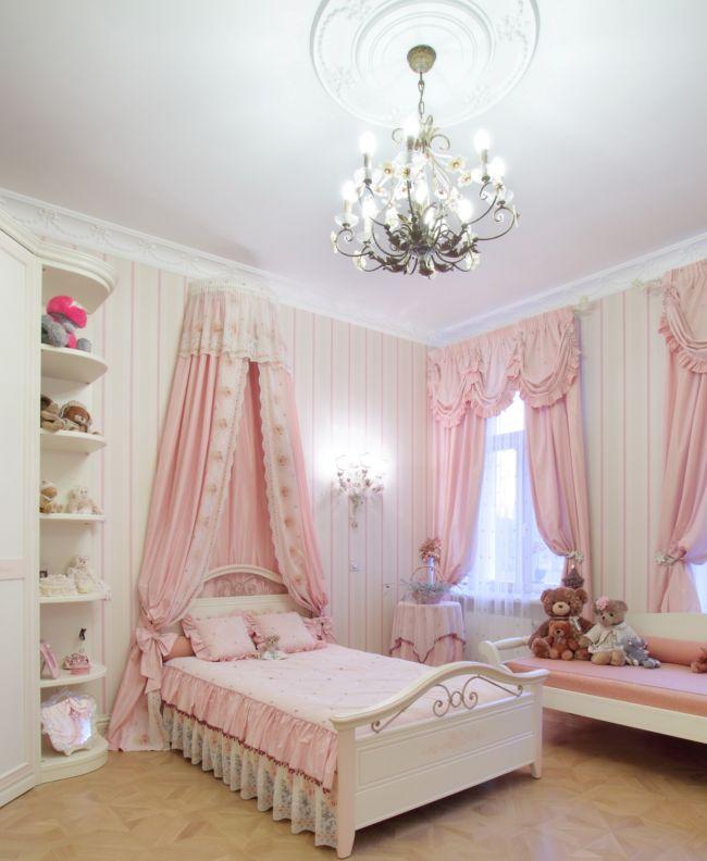 шторы и тектиль для детской в розовом цвете2